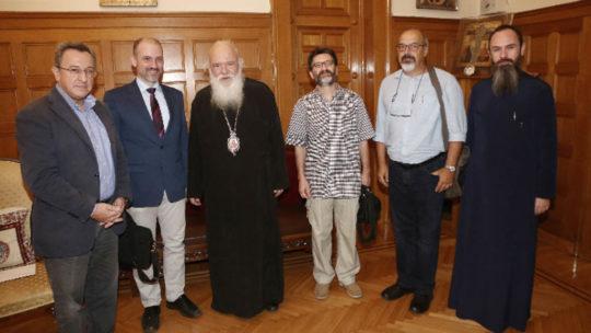 """Μέλη του Πανελληνίου Θεολογικού Συνδέσμου """"ΚΑΙΡΟΣ"""" στον Αρχιεπίσκοπο"""
