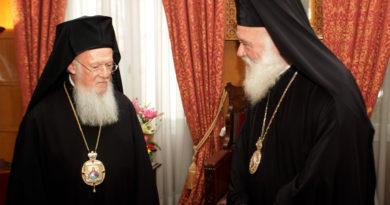 Ιερώνυμος προς Βαρθολομαίο: Ακλόνητη στήριξη στο Οικουμενικό Πατριαρχείο